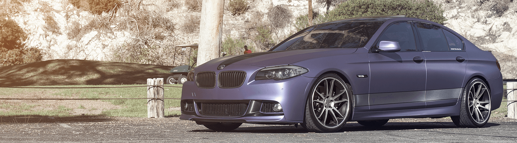 Purple BMW with windows tinted